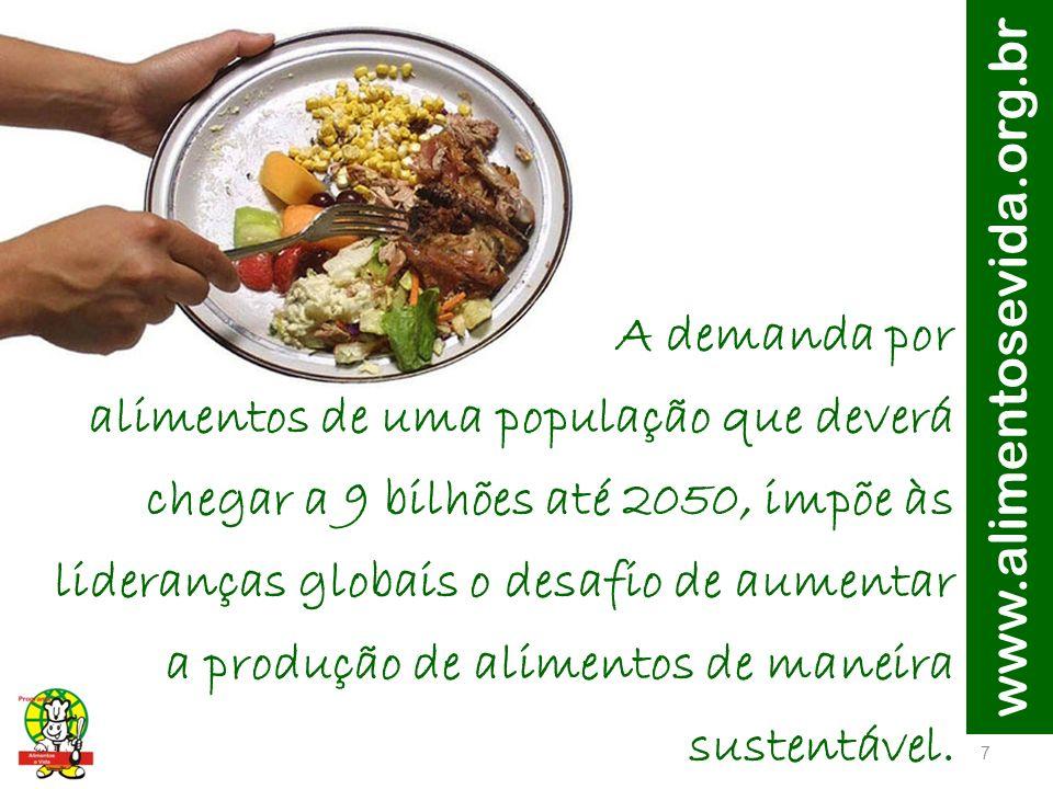 A demanda por alimentos de uma população que deverá chegar a 9 bilhões até 2050, impõe às lideranças globais o desafio de aumentar a produção de alimentos de maneira sustentável.