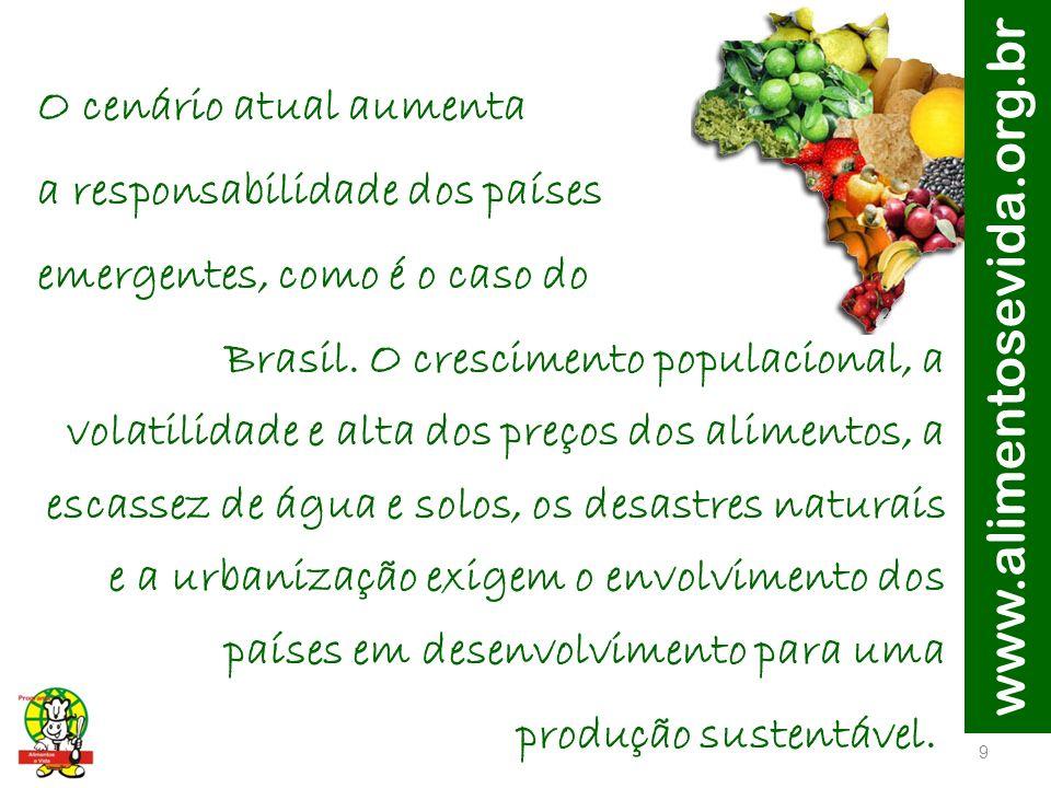 www.alimentosevida.org.br O cenário atual aumenta