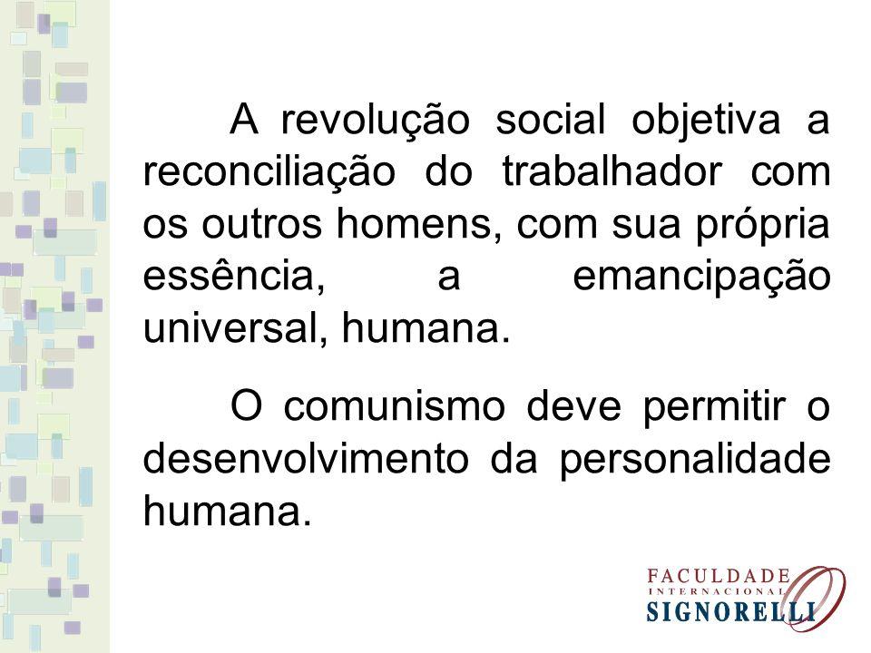 A revolução social objetiva a reconciliação do trabalhador com os outros homens, com sua própria essência, a emancipação universal, humana.