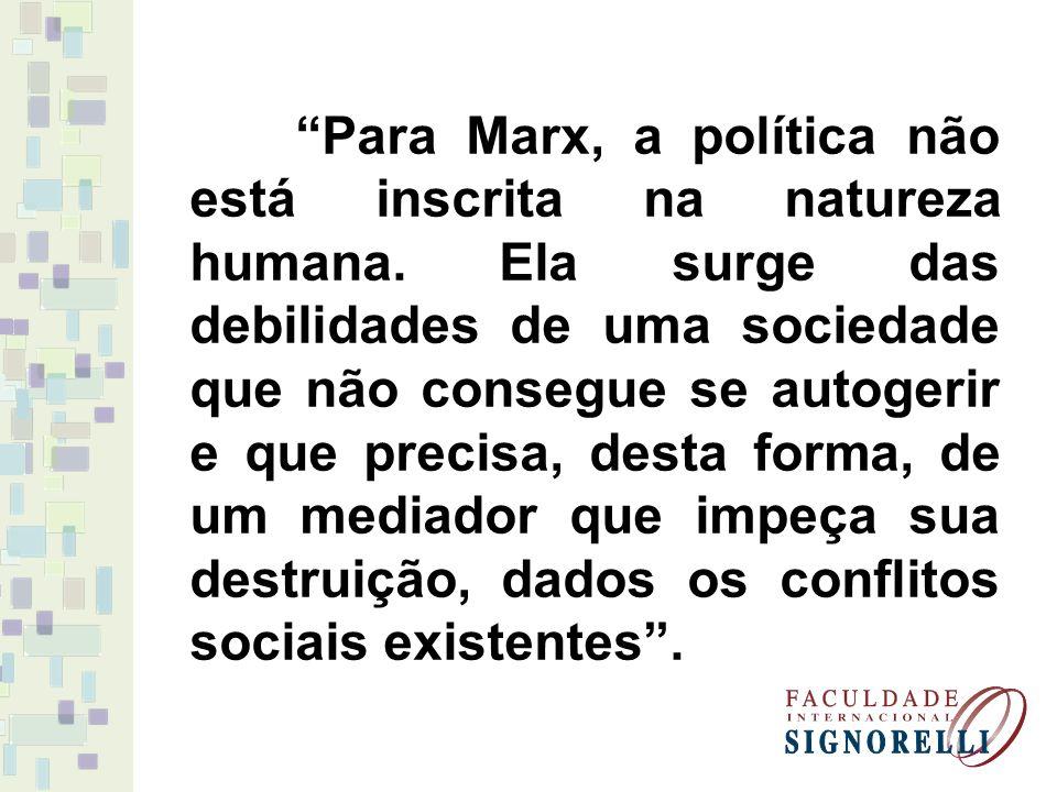 Para Marx, a política não está inscrita na natureza humana