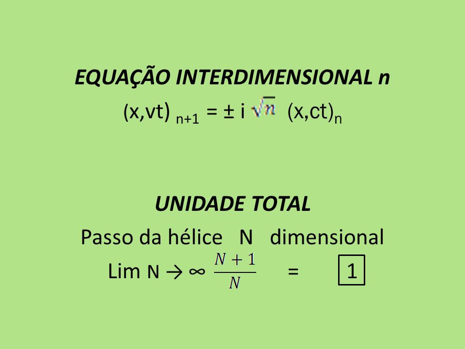 EQUAÇÃO INTERDIMENSIONAL n