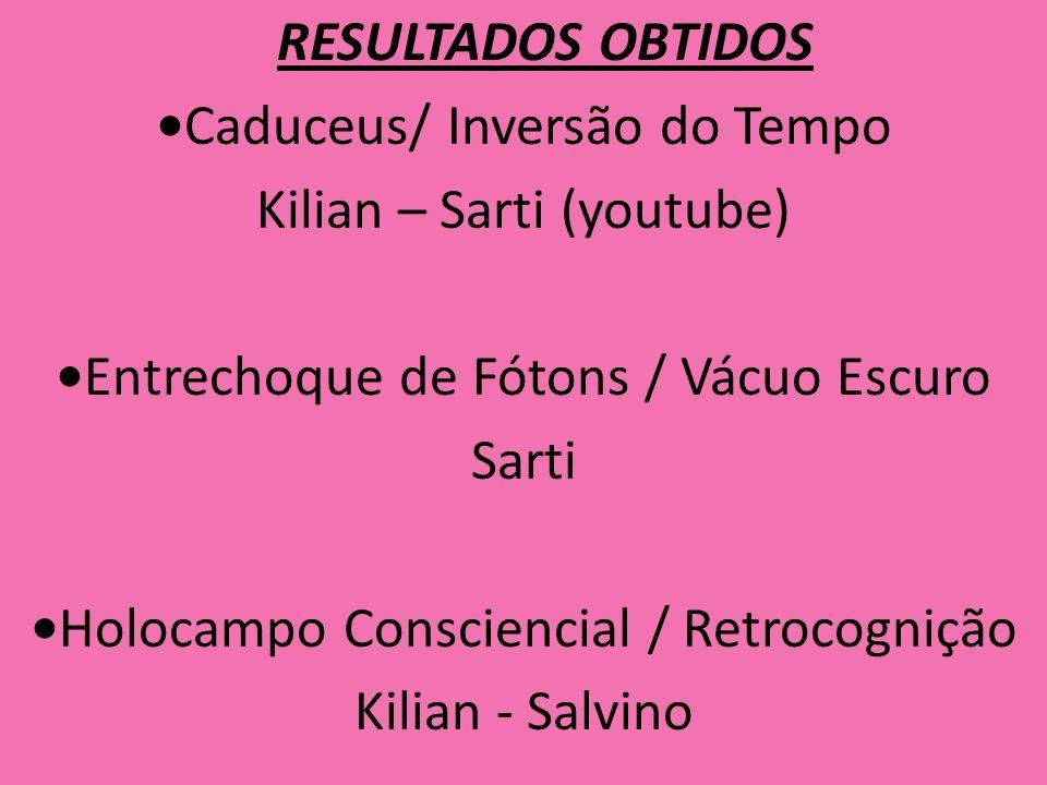 RESULTADOS OBTIDOS •Caduceus/ Inversão do Tempo Kilian – Sarti (youtube) •Entrechoque de Fótons / Vácuo Escuro Sarti •Holocampo Consciencial / Retrocognição Kilian - Salvino
