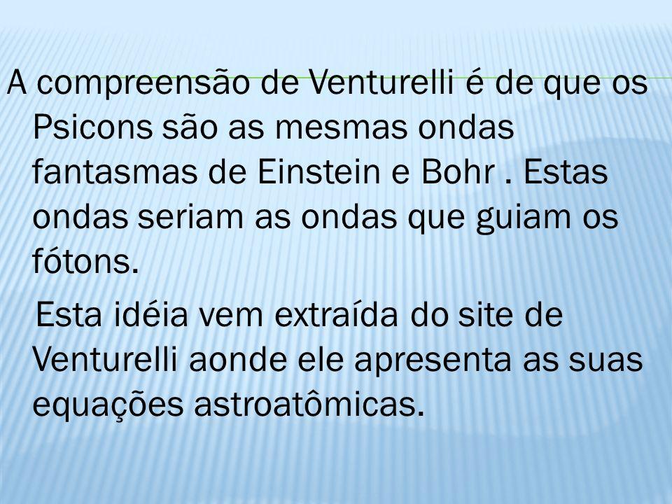 A compreensão de Venturelli é de que os Psicons são as mesmas ondas fantasmas de Einstein e Bohr .