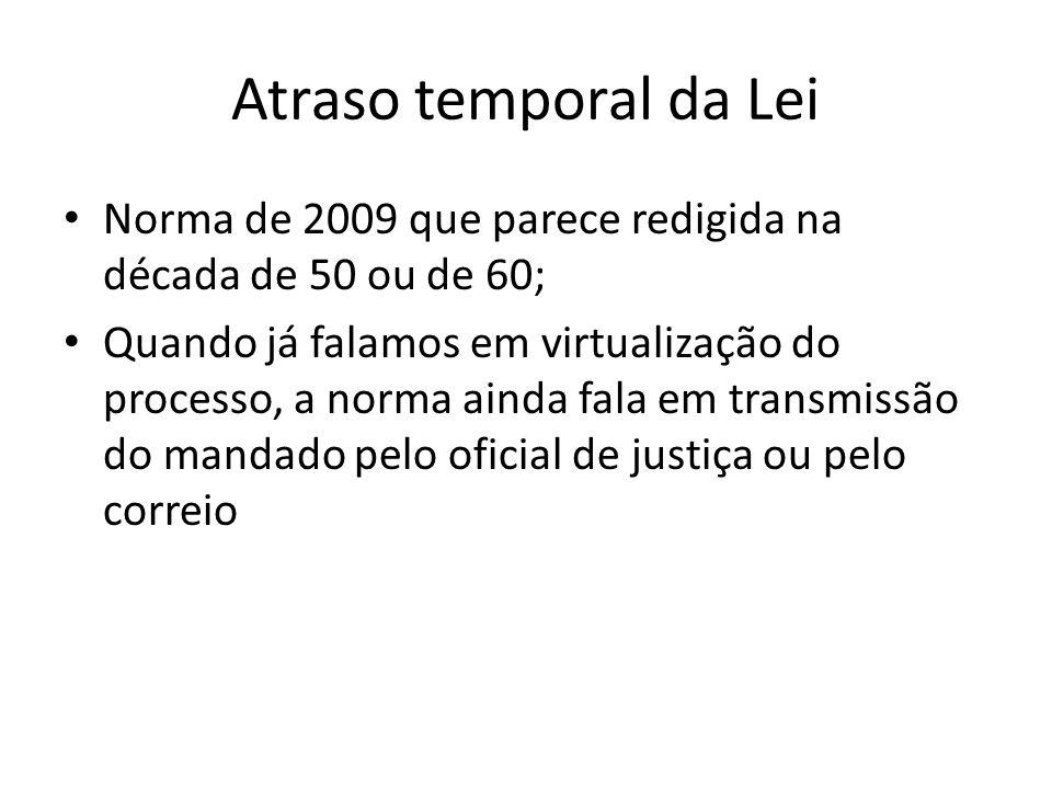 Atraso temporal da Lei Norma de 2009 que parece redigida na década de 50 ou de 60;