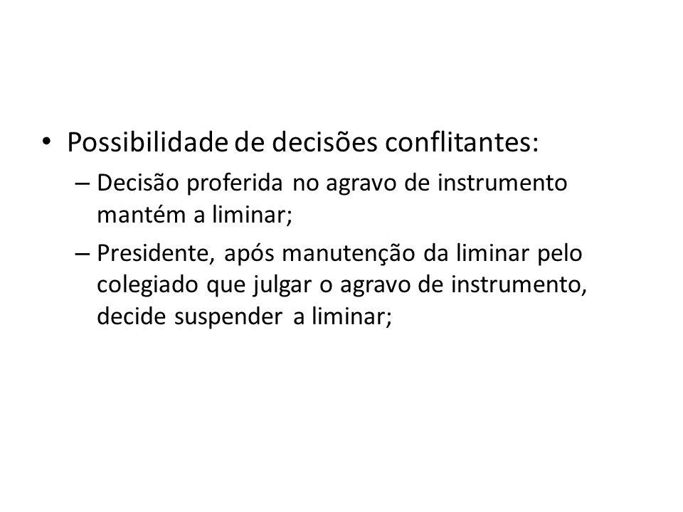 Possibilidade de decisões conflitantes:
