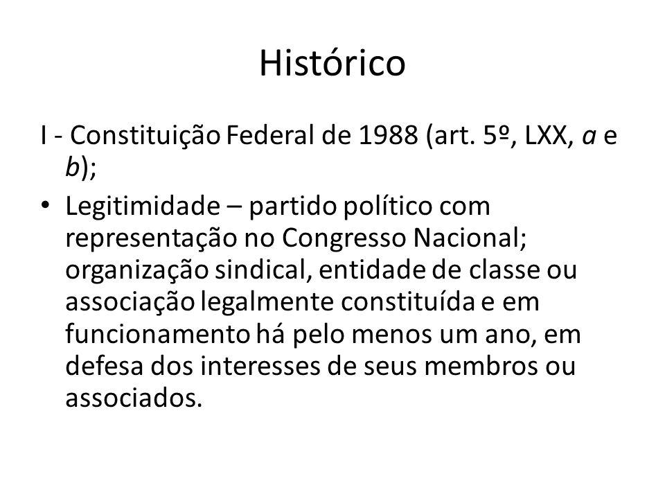 Histórico I - Constituição Federal de 1988 (art. 5º, LXX, a e b);