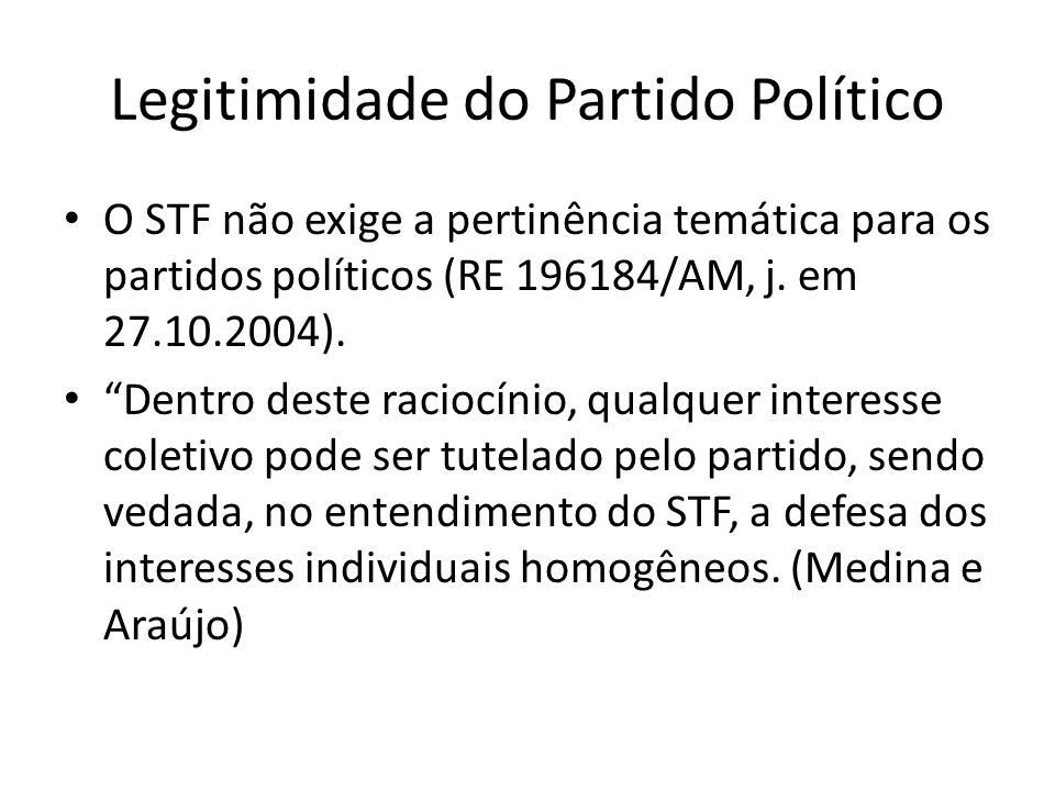 Legitimidade do Partido Político