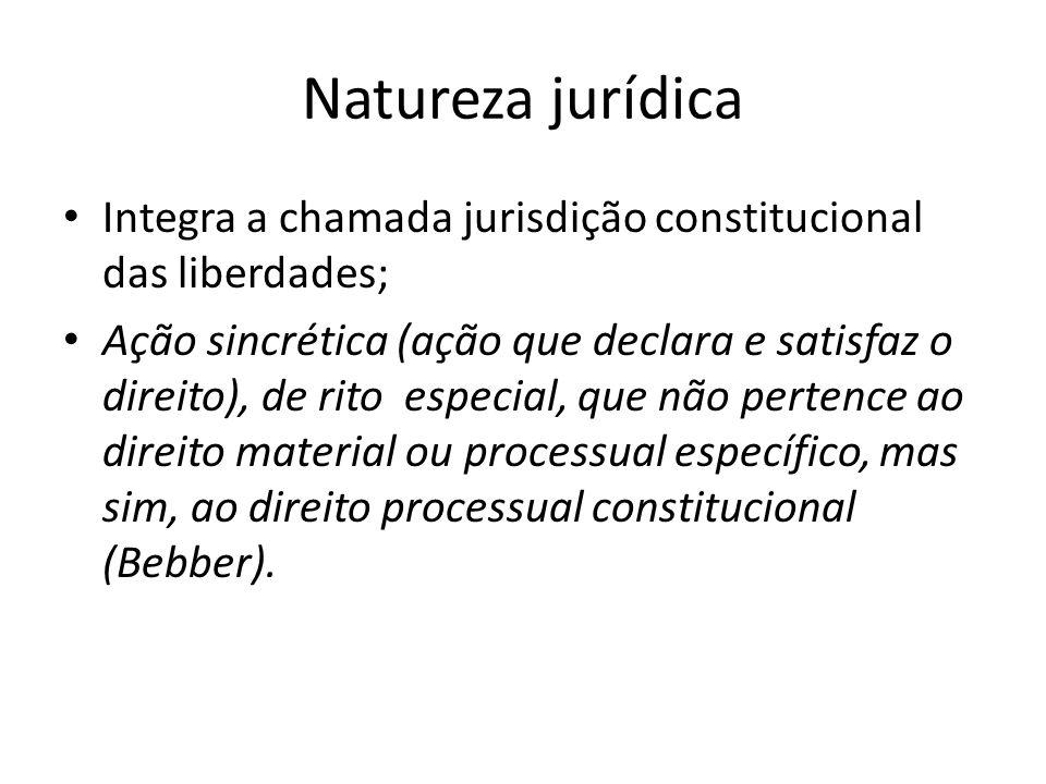 Natureza jurídica Integra a chamada jurisdição constitucional das liberdades;