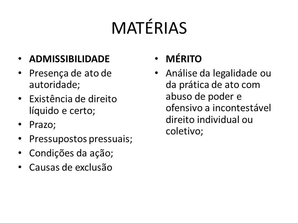 MATÉRIAS ADMISSIBILIDADE Presença de ato de autoridade;