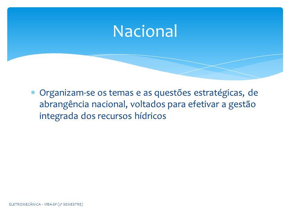 Nacional Organizam-se os temas e as questões estratégicas, de abrangência nacional, voltados para efetivar a gestão integrada dos recursos hídricos.