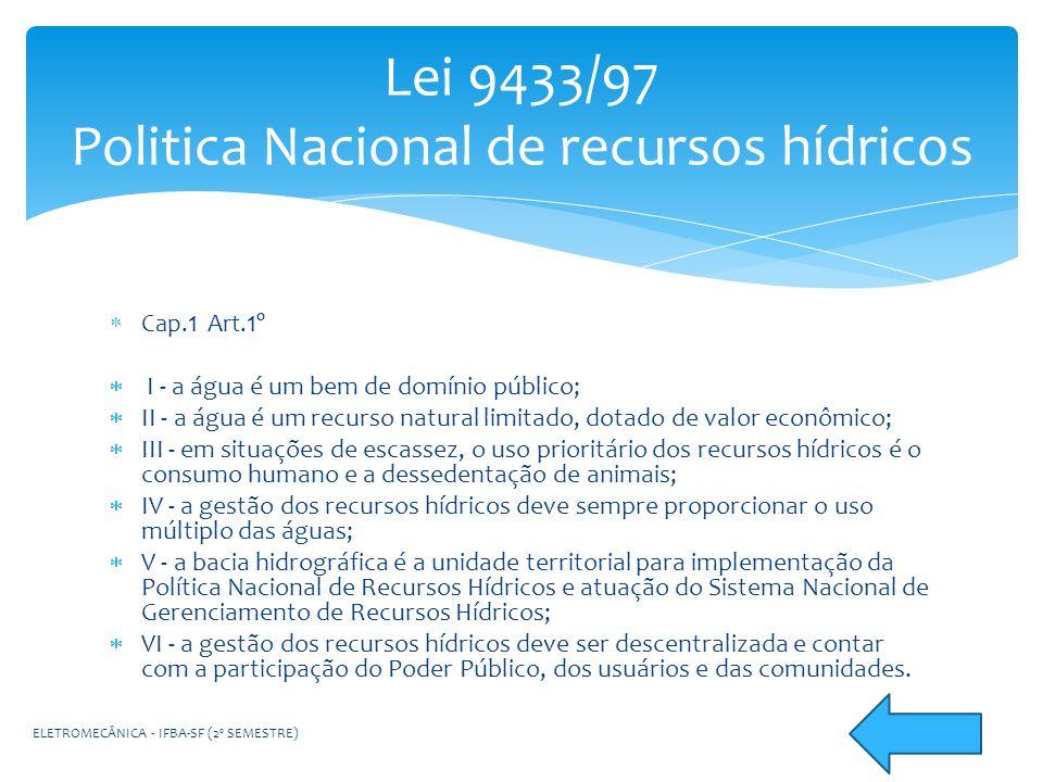 Lei 9433/97 Politica Nacional de recursos hídricos