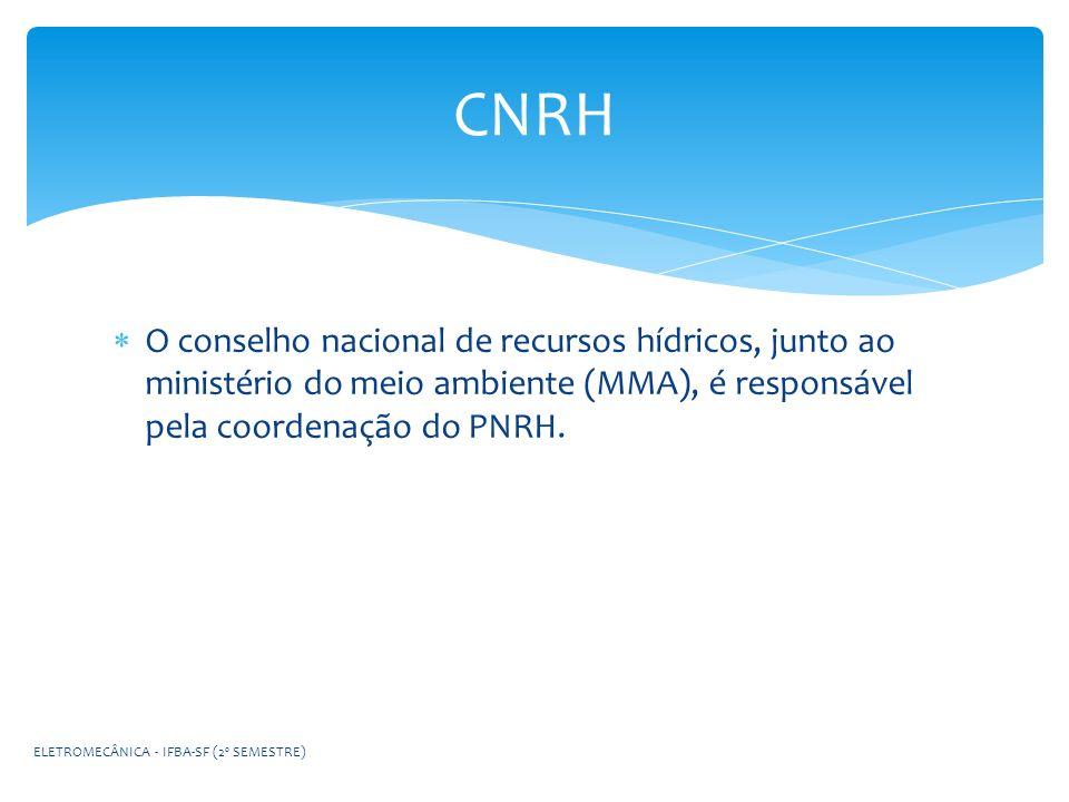 CNRH O conselho nacional de recursos hídricos, junto ao ministério do meio ambiente (MMA), é responsável pela coordenação do PNRH.