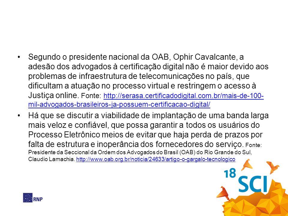 Segundo o presidente nacional da OAB, Ophir Cavalcante, a adesão dos advogados à certificação digital não é maior devido aos problemas de infraestrutura de telecomunicações no país, que dificultam a atuação no processo virtual e restringem o acesso à Justiça online. Fonte: http://serasa.certificadodigital.com.br/mais-de-100-mil-advogados-brasileiros-ja-possuem-certificacao-digital/