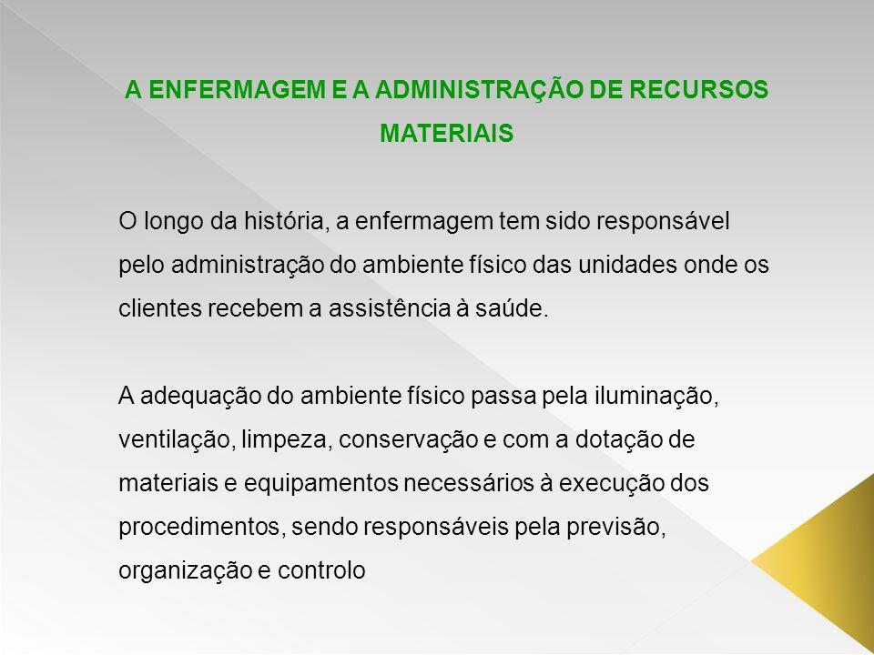 A ENFERMAGEM E A ADMINISTRAÇÃO DE RECURSOS MATERIAIS