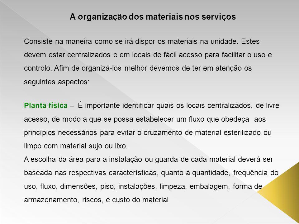 A organização dos materiais nos serviços