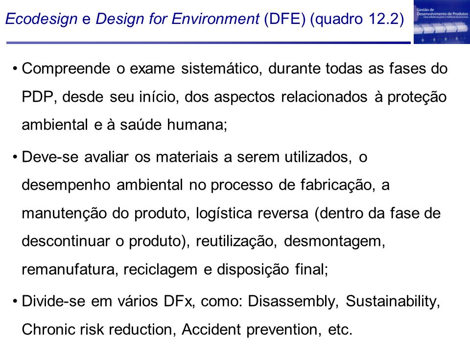 Ecodesign e Design for Environment (DFE) (quadro 12.2)