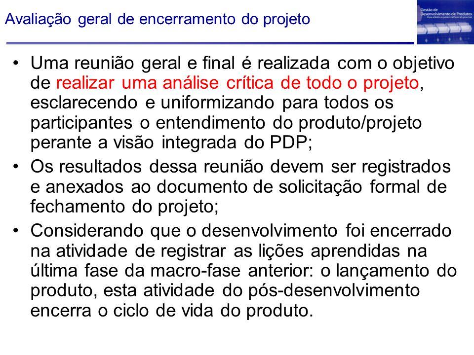 Avaliação geral de encerramento do projeto