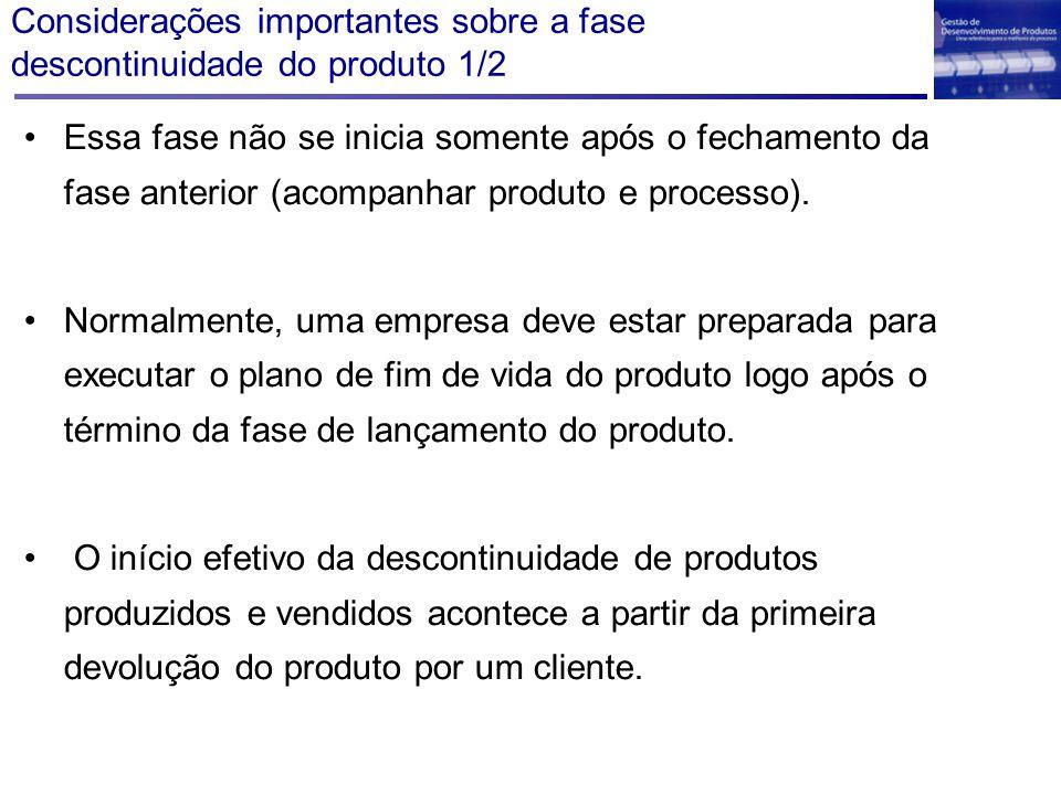 Considerações importantes sobre a fase descontinuidade do produto 1/2