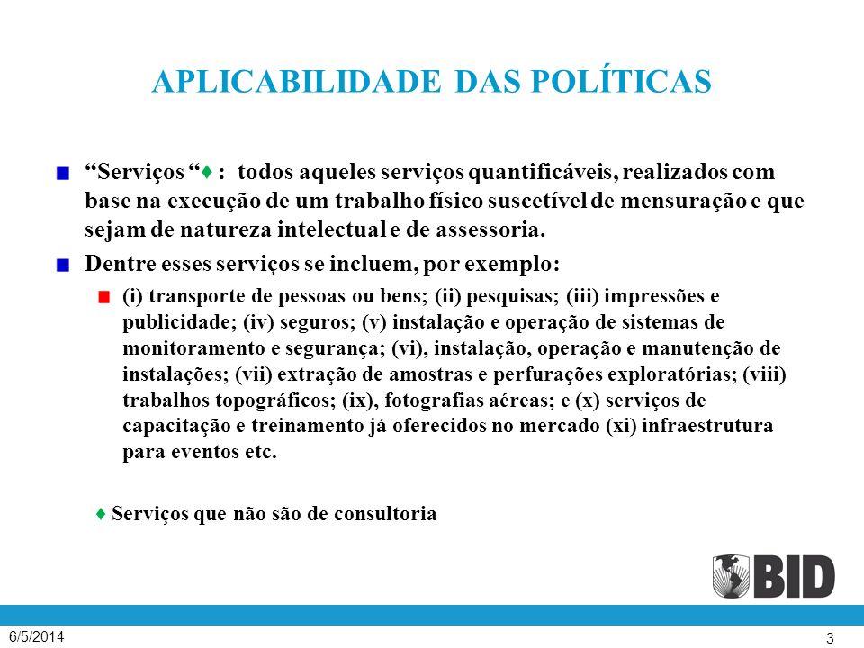 APLICABILIDADE DAS POLÍTICAS