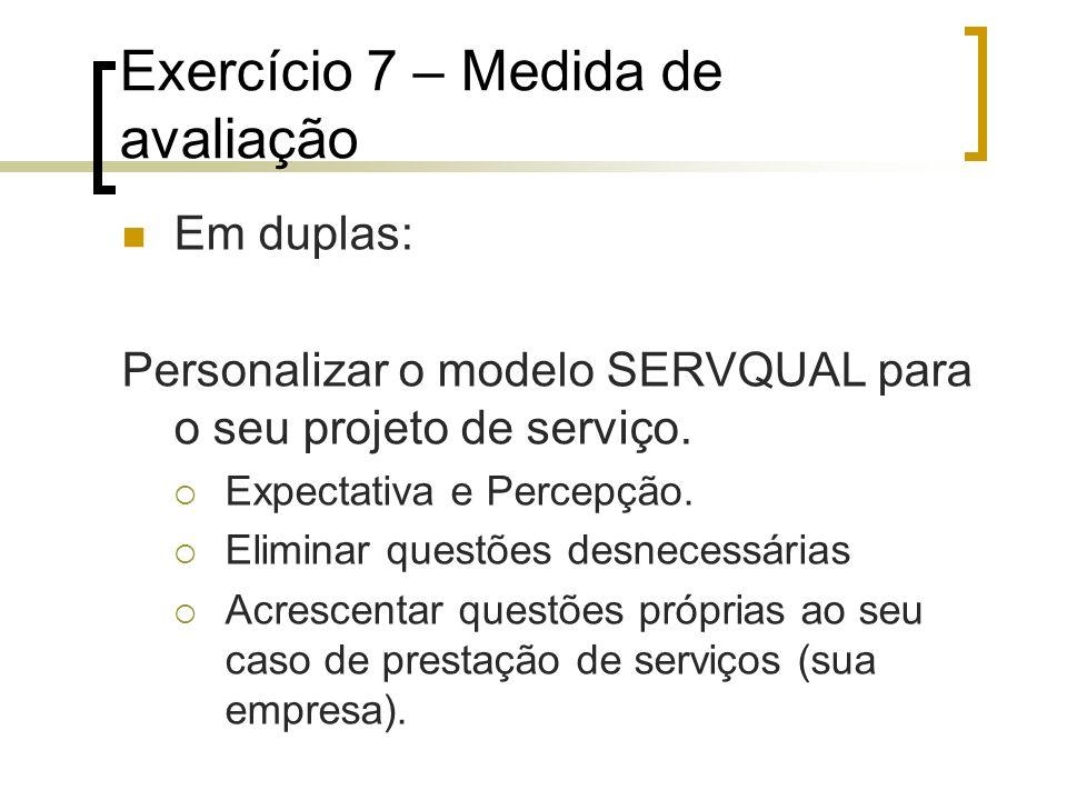 Exercício 7 – Medida de avaliação