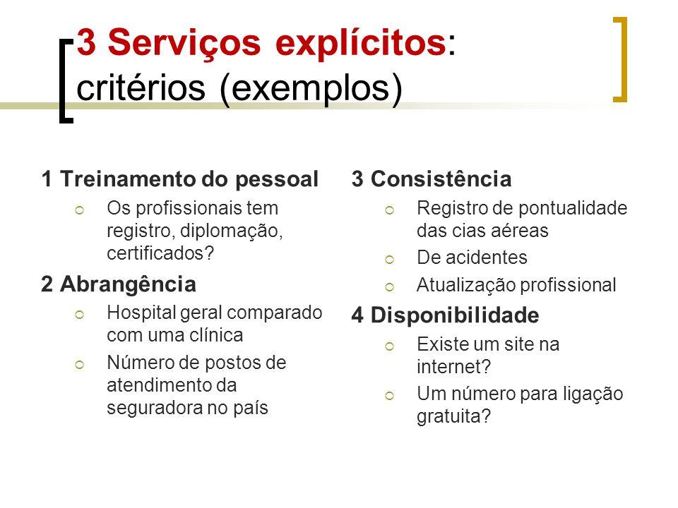 3 Serviços explícitos: critérios (exemplos)