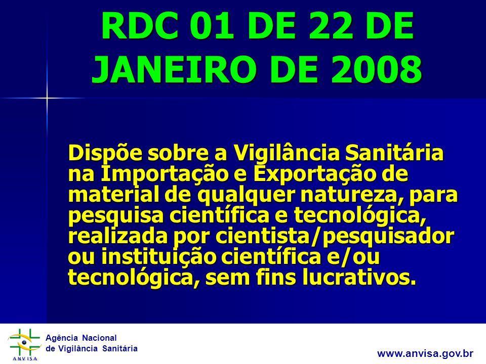 RDC 01 DE 22 DE JANEIRO DE 2008