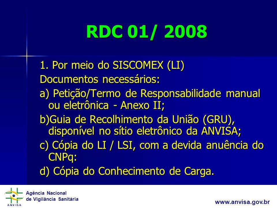 RDC 01/ 2008 1. Por meio do SISCOMEX (LI) Documentos necessários: