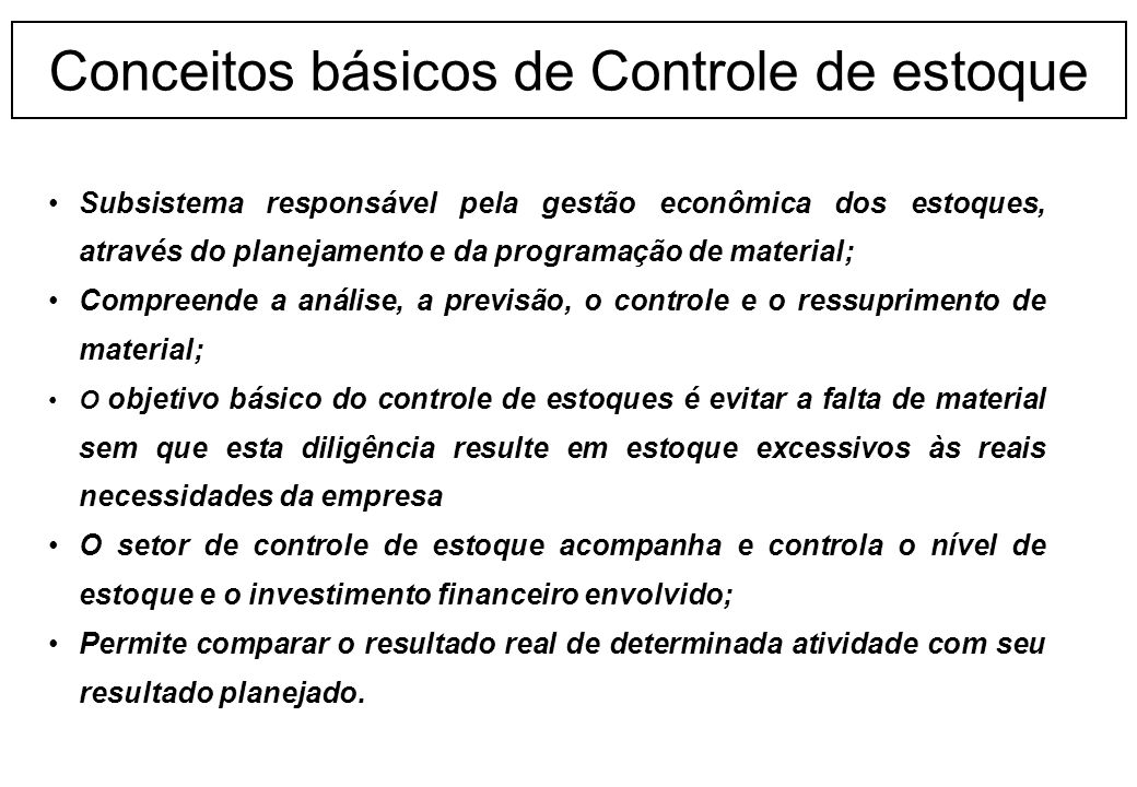 Conceitos básicos de Controle de estoque