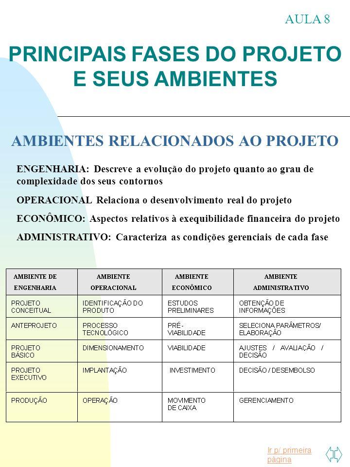 PRINCIPAIS FASES DO PROJETO AMBIENTES RELACIONADOS AO PROJETO