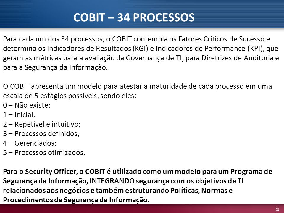 COBIT – 34 PROCESSOS