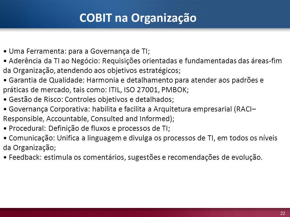 COBIT na Organização • Uma Ferramenta: para a Governança de TI;