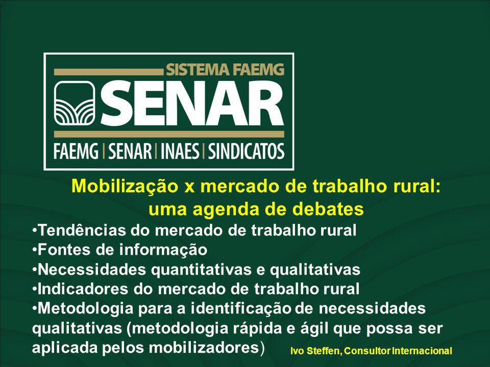 Mobilização x mercado de trabalho rural: