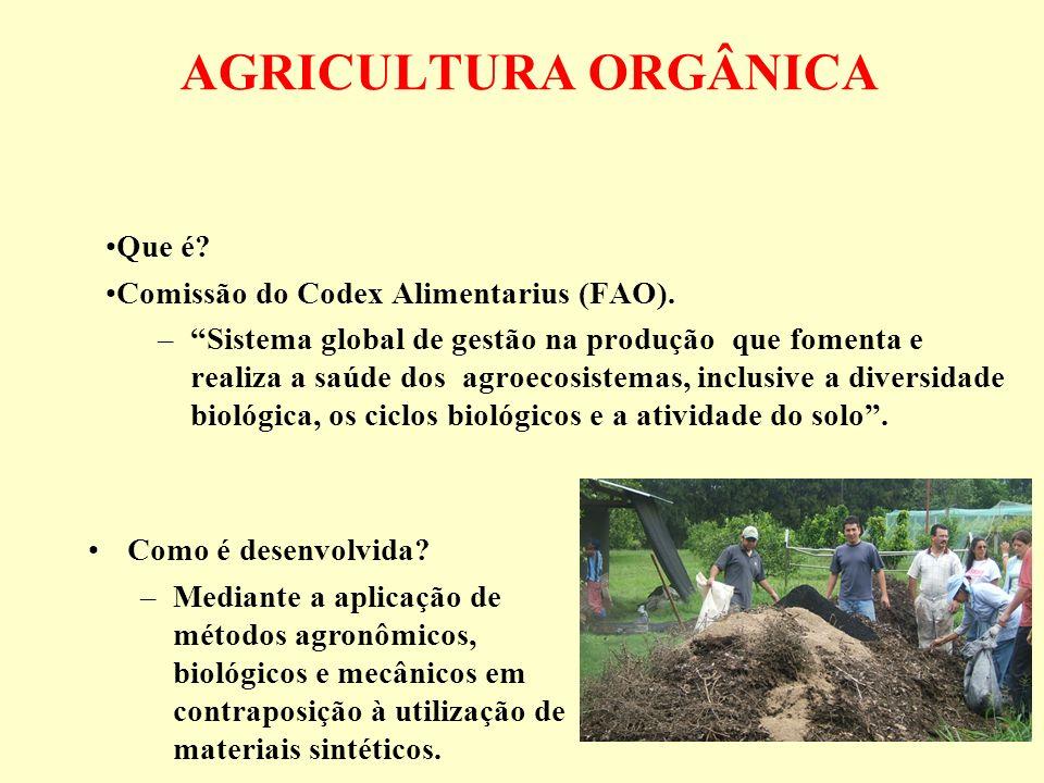 AGRICULTURA ORGÂNICA Que é Comissão do Codex Alimentarius (FAO).