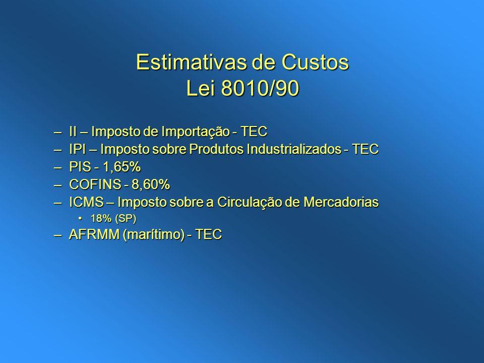 Estimativas de Custos Lei 8010/90