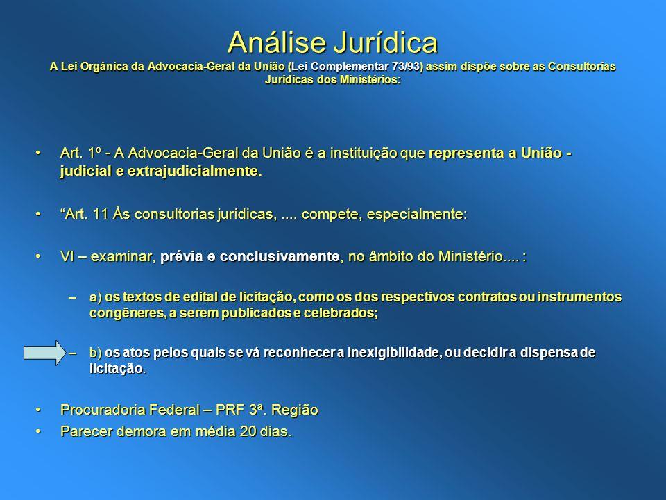 Análise Jurídica A Lei Orgânica da Advocacia-Geral da União (Lei Complementar 73/93) assim dispõe sobre as Consultorias Jurídicas dos Ministérios: