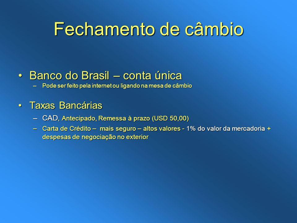Fechamento de câmbio Banco do Brasil – conta única Taxas Bancárias