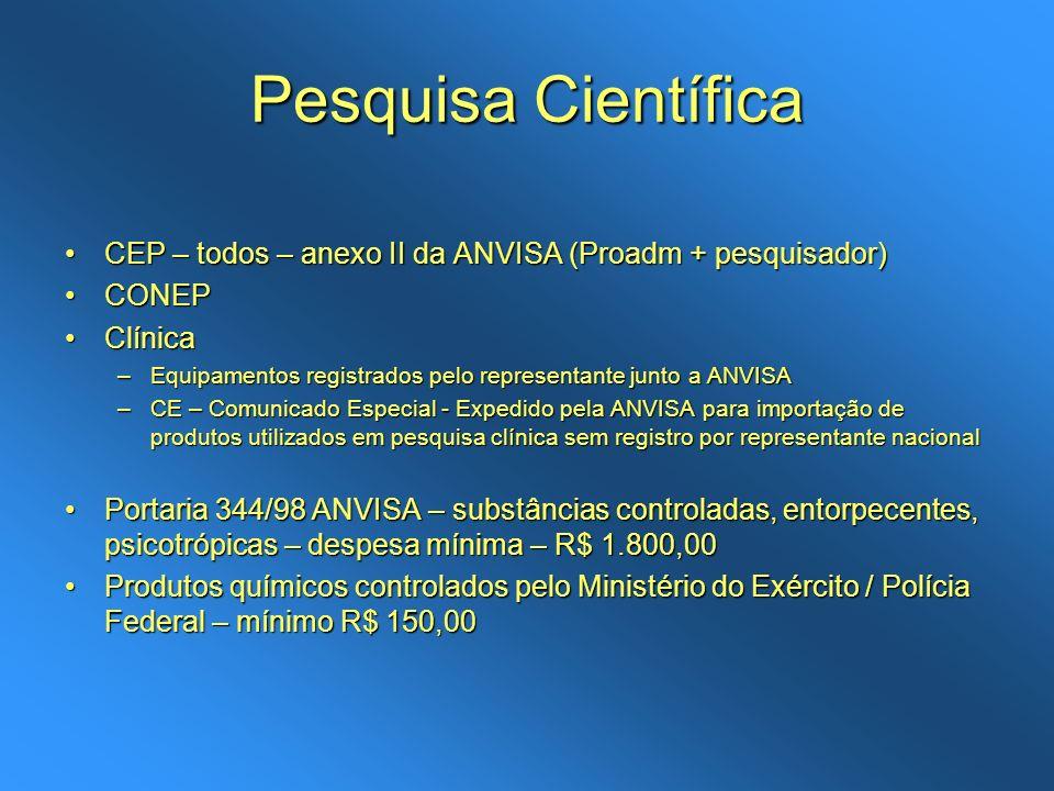 Pesquisa CientíficaCEP – todos – anexo II da ANVISA (Proadm + pesquisador) CONEP. Clínica.