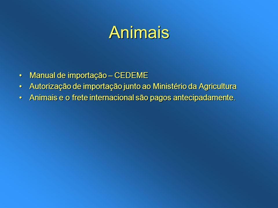 Animais Manual de importação – CEDEME