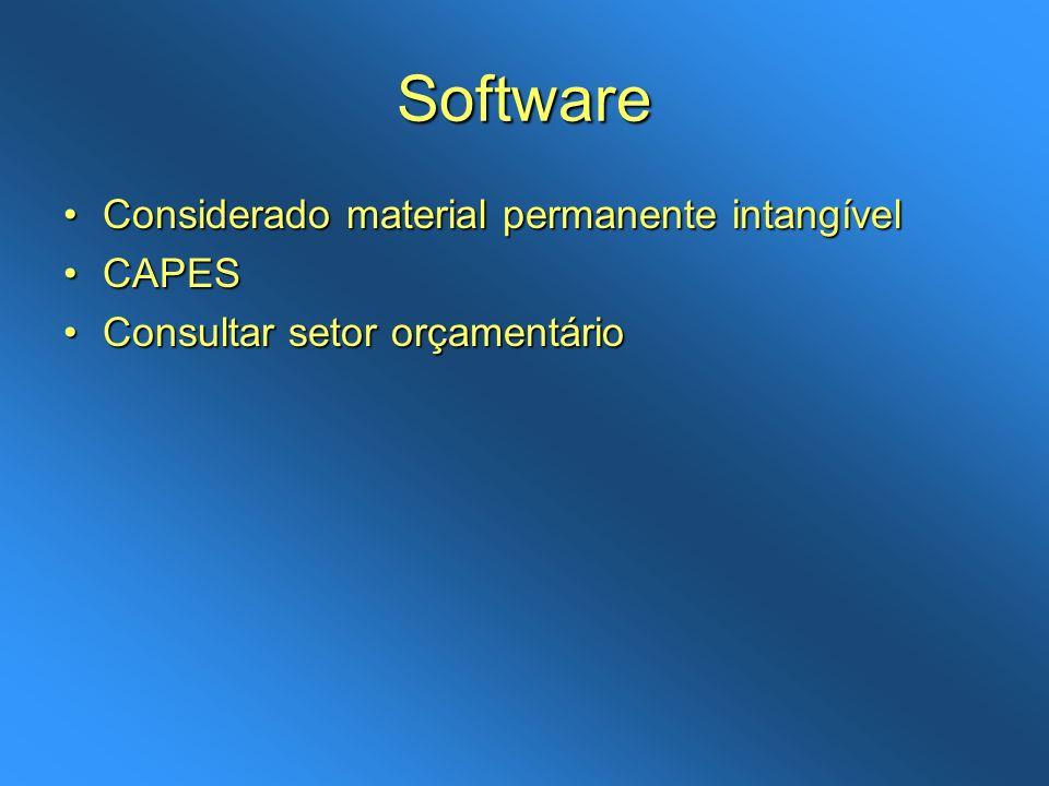 Software Considerado material permanente intangível CAPES