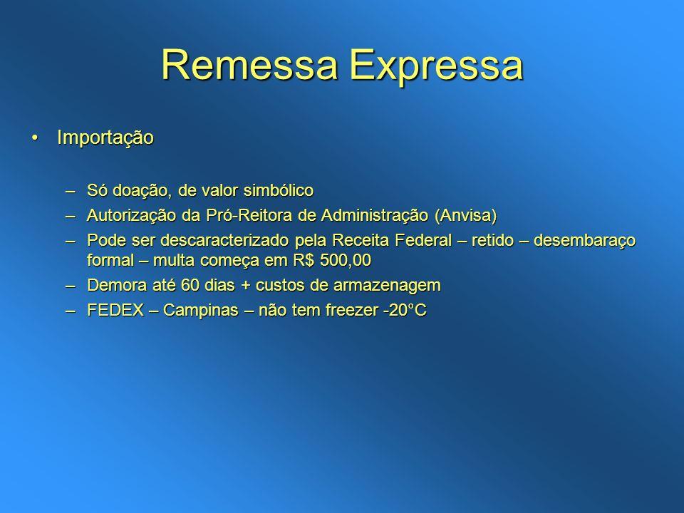 Remessa Expressa Importação Só doação, de valor simbólico