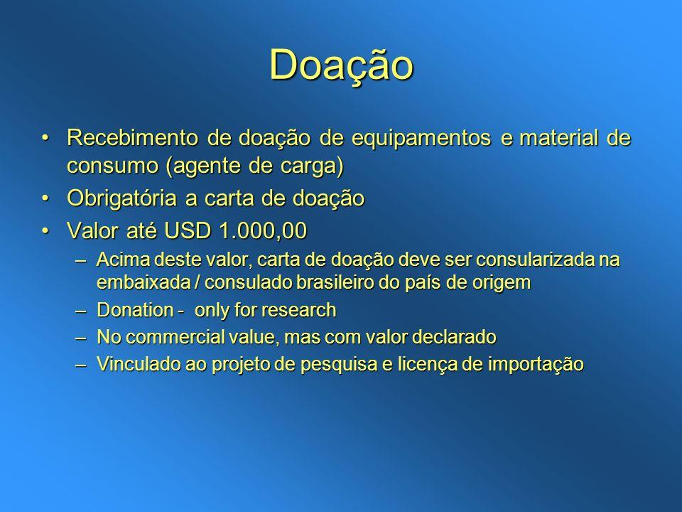DoaçãoRecebimento de doação de equipamentos e material de consumo (agente de carga) Obrigatória a carta de doação.