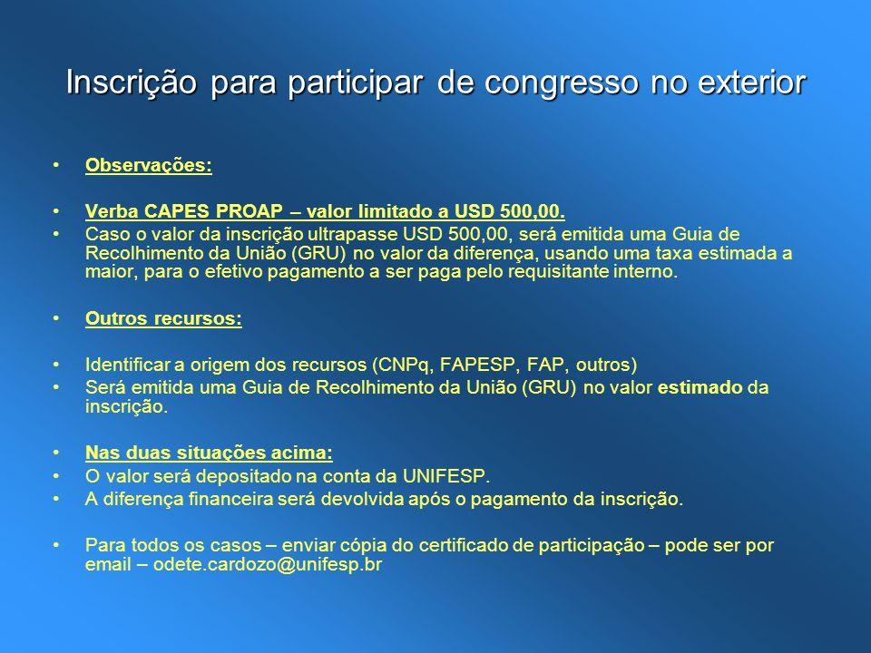 Inscrição para participar de congresso no exterior