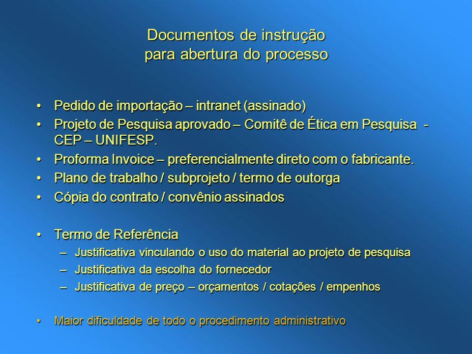 Documentos de instrução para abertura do processo