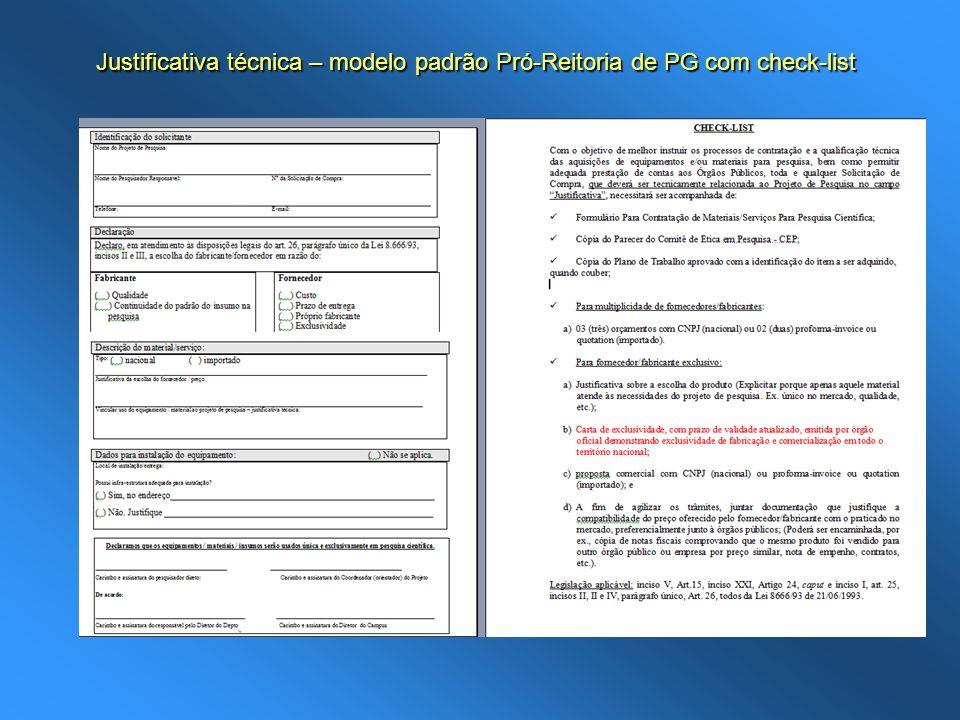 Justificativa técnica – modelo padrão Pró-Reitoria de PG com check-list