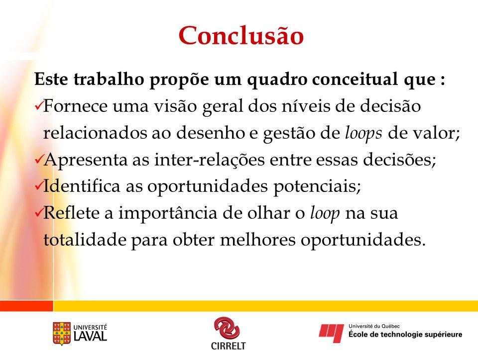Conclusão Este trabalho propõe um quadro conceitual que :