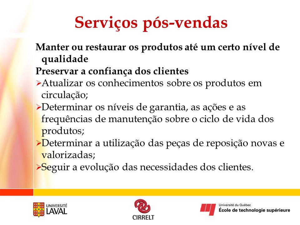 Serviços pós-vendas Manter ou restaurar os produtos até um certo nível de qualidade. Preservar a confiança dos clientes.