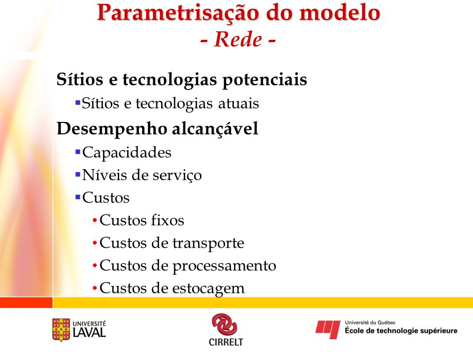 Parametrisação do modelo - Rede -
