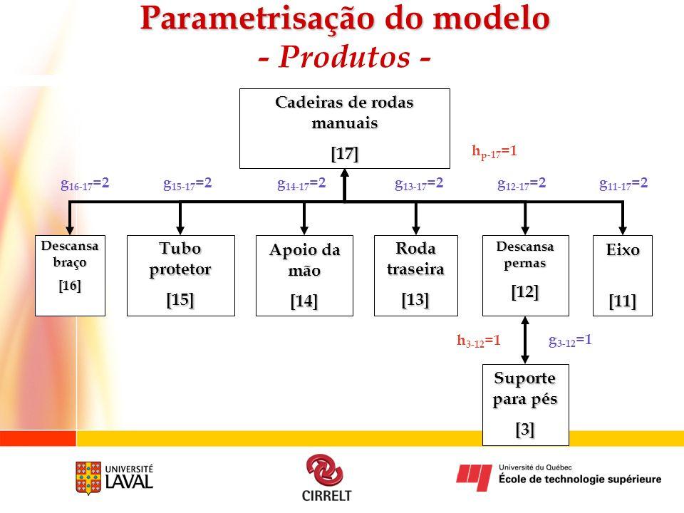 Parametrisação do modelo - Produtos -
