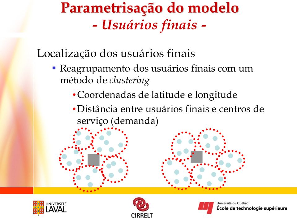 Parametrisação do modelo - Usuários finais -
