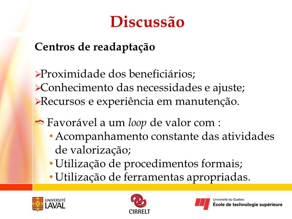 Discussão Centros de readaptação Proximidade dos beneficiários;